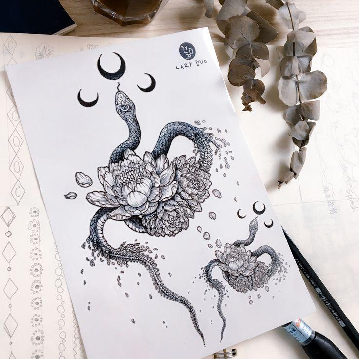 Photo of Tatouage de serpent fleur de serpent tatouage de pivoine fleur tatouages tatouage de lune tatouage de lune… # flowertattoos – tatouages de fleurs