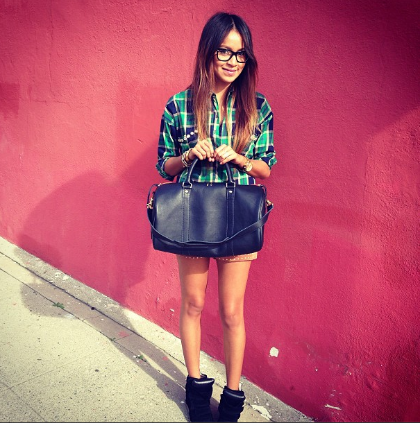 Sincerely Jules with the monogrammed navy Clare Vivier duffle!
