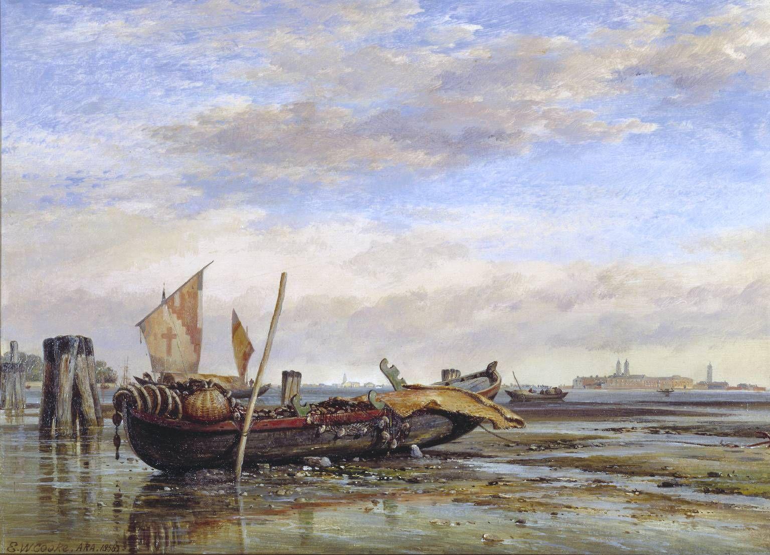Edward William Cooke, 'Boat, near Venice' 1858