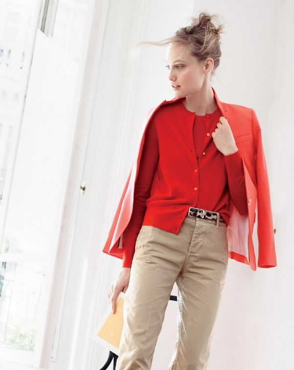 3967f6c60649 SEP '15 Style Guide: J.Crew women's Regent blazer, Collection cashmere  cardigan sweater, Collection cashmere shell top, broken-in boyfriend chino  and calf ...