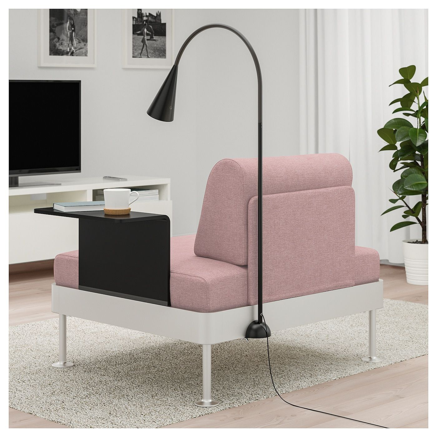 Delaktig Armchair With Side Table And Lamp Gunnared Light Brown Pink Ikea Ikea Armchair Painted Side Tables