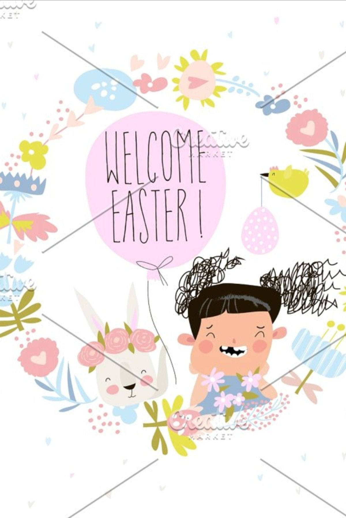 Photo of Cartoon Easter wreath with cute