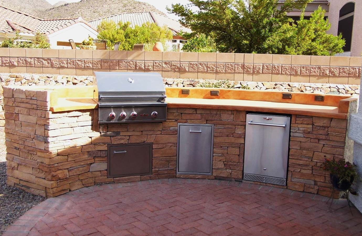 Outdoor Kitchen Refrigerator 14ft Custom Outdoor Kitchen Colored Concrete Countertop With Rock