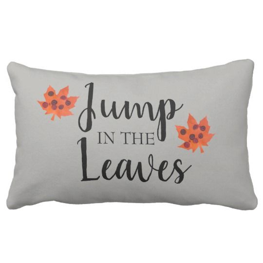Orange Leaf Autumn Jump in the Leaves Throw Pillow | Fall ...