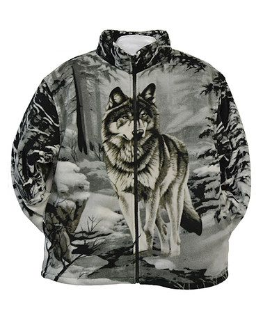 4fd85d57e5c Another great find on  zulily! Gray Wolf Fleece Jacket - Boys   Men   zulilyfinds