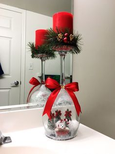 Christmas DIY: Christmas Wine Glass Christmas Wine Glass Candle Holder #christmasdiy #christmas #diy