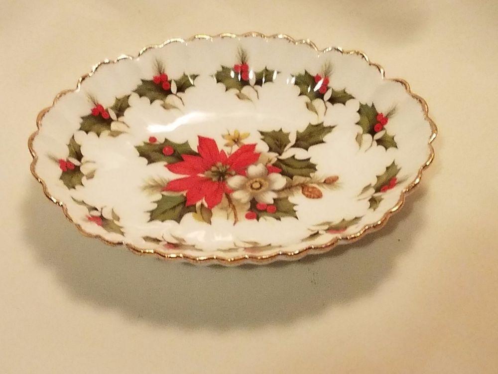 "Flambro Christmas Rose Collection Gold Trim Vintage bowl 6 1/4"" X 5"" X 1 1/4"""