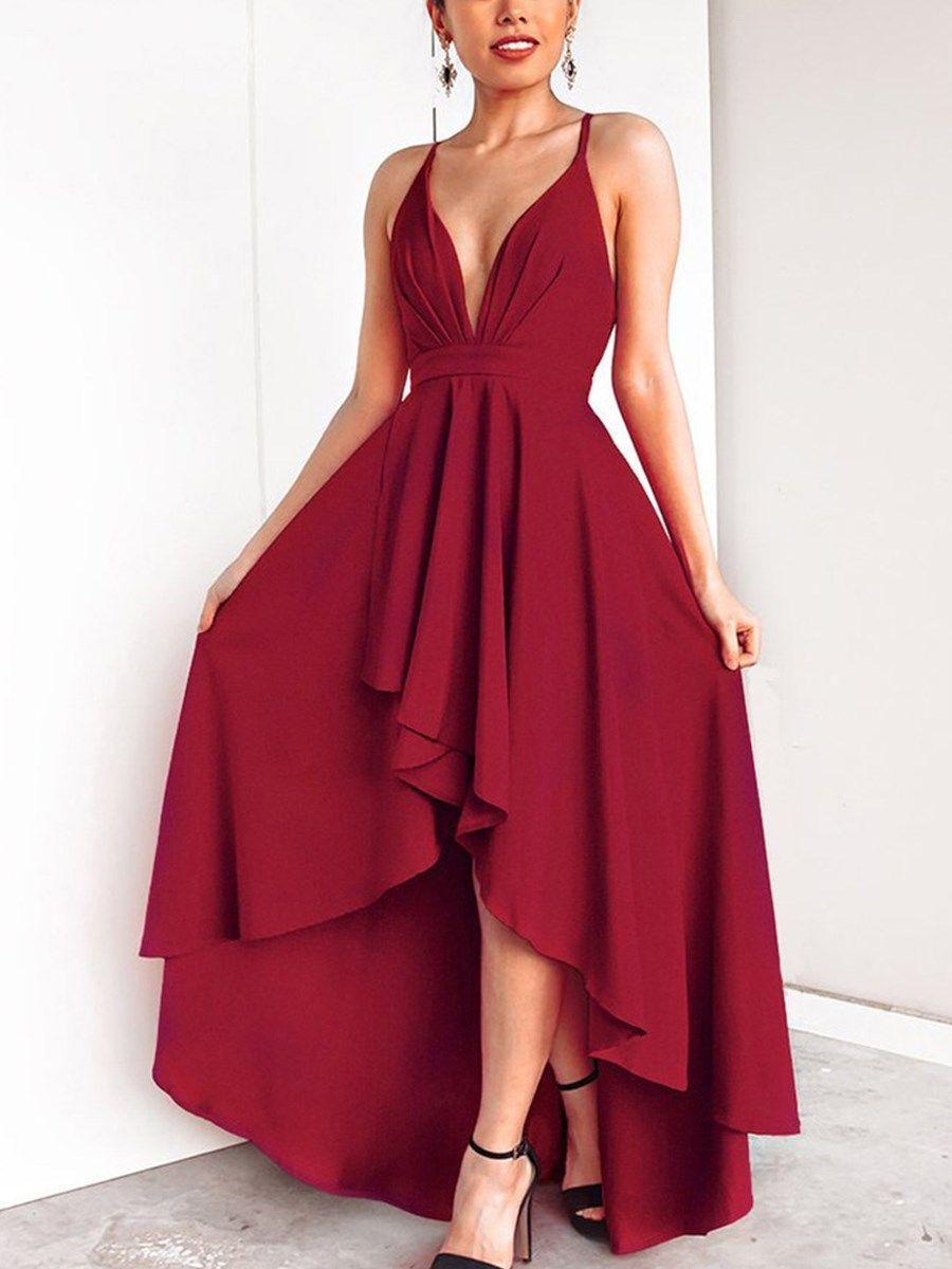rot asymmetrisch rückenfrei spaghetti kleid kleider&frauen