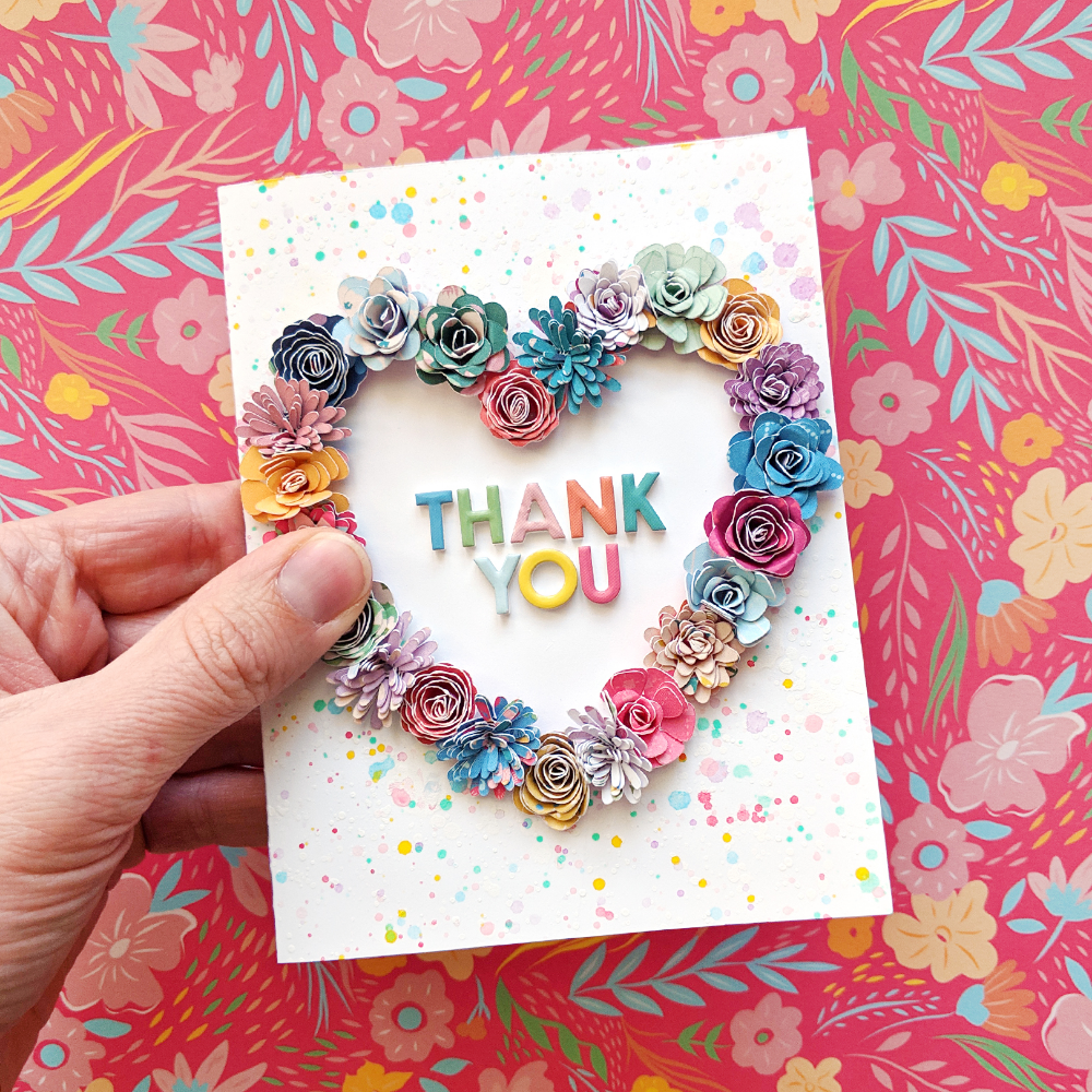 Thank You Paper Flower Card   Flower cards, Wedding cards ...