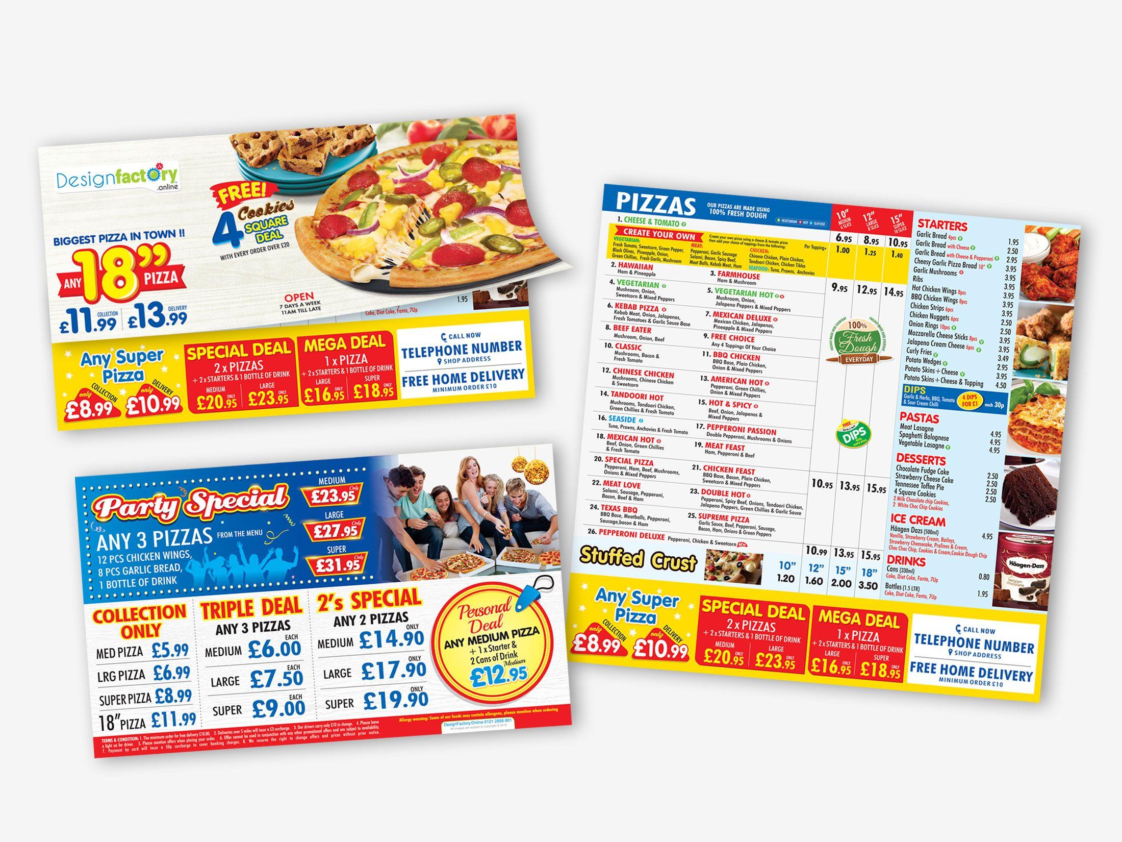 Pizza Hot Express Leaflet Pizza Menu Factory Design Menu