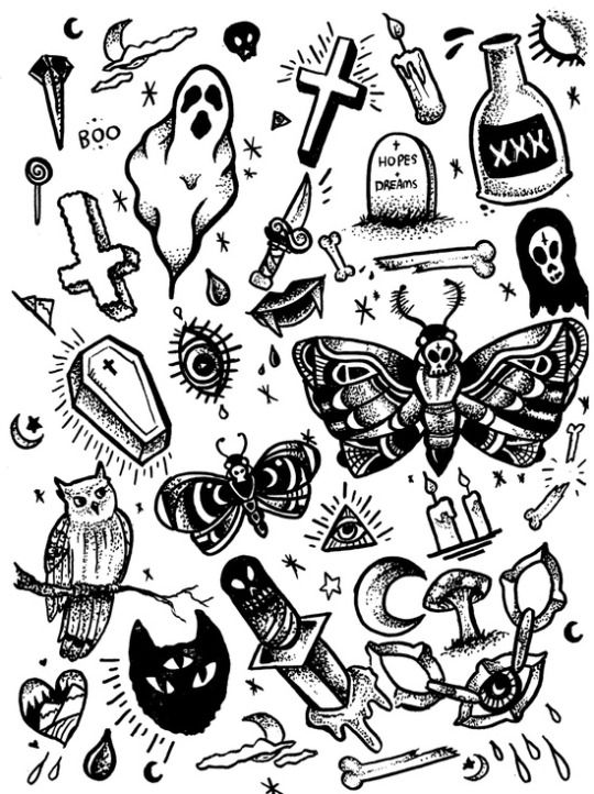 Inspired Nonsense Spooky Tattoos Traditional Tattoo Black And White Tattoo Flash Sheet