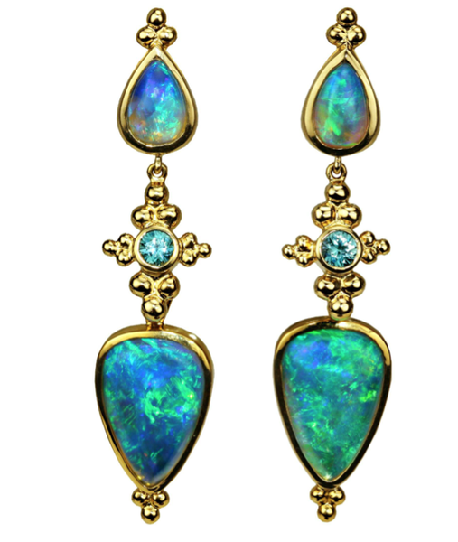 Paula Crevoshay Opal Earrings  $67,700.00  Specs:  Known as one of the finest pairs of opal earrings in the world, these one-of-a-kind opal earrings in 18k yellow gold boast 13.45 carats of breathtaking opals with blue zircon accents totaling .82 cttw for a total gem weight 17.69 cttw.
