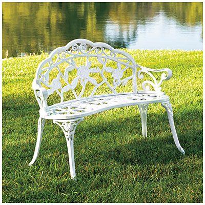 Wilson Fisher Vintage White Rose Cast Iron Garden Bench Cast