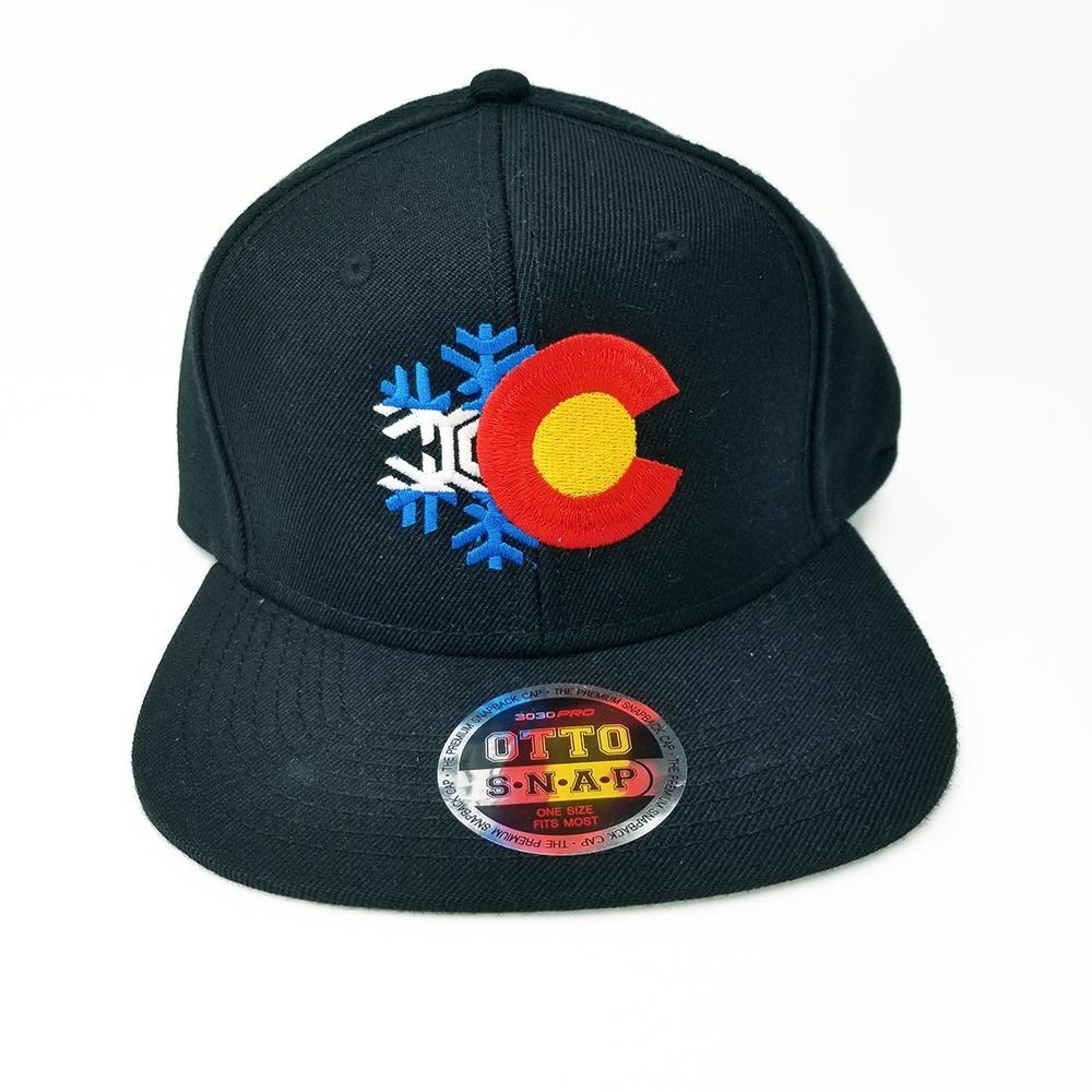288d1dde1da COLORADO FLAG AND SNOWFLAKE FLAT SIX PANEL PRO STYLE SNAPBACK HAT  1851