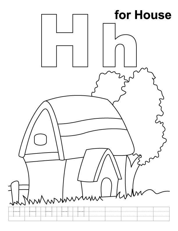 H For House Coloring Page With Handwriting Practice