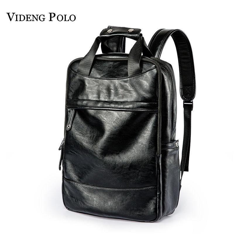 5123e37d97 VIDENG POLO Leather Casual Men s Backpack Male Bookbag Black Waterproof  Mochila