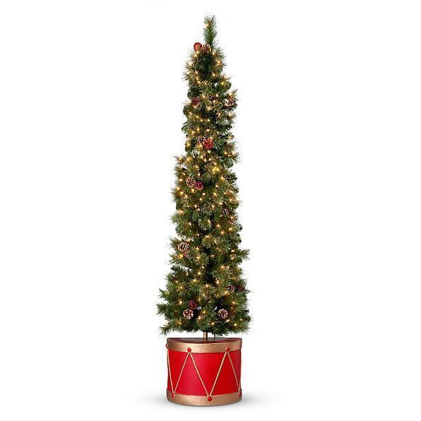 65\u0027 Lighted Pre Lit Spruce Flat Back Half Christmas Tree in Drum - outside christmas decorations sale