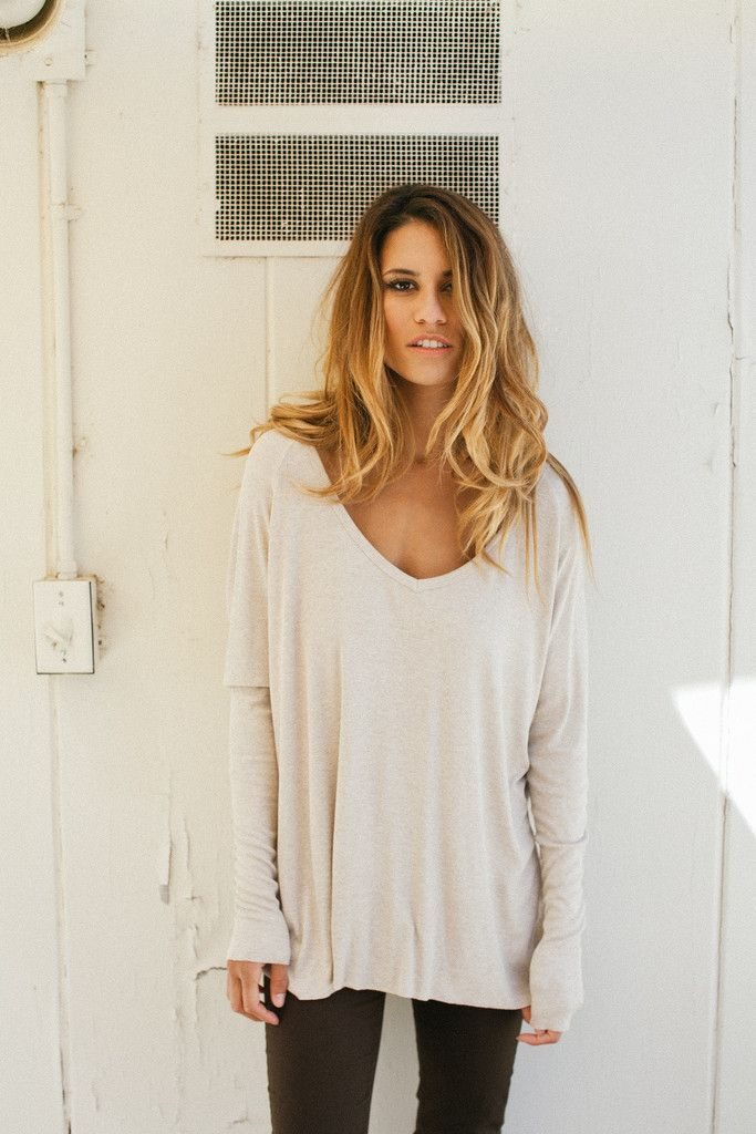 Long Sleeve V Neck- Really big shirts like this are cute, nice and ...