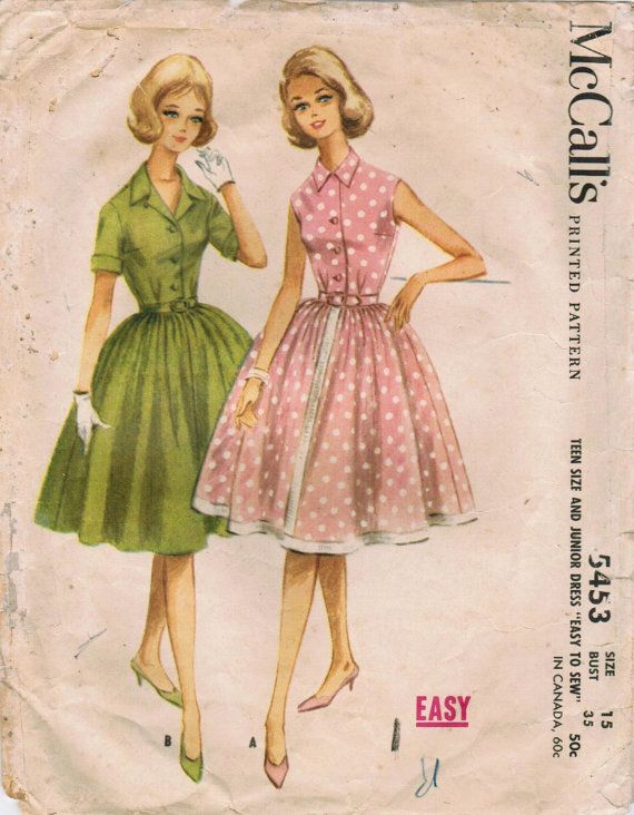 1960s McCall\'s 5453 Vintage Sewing Pattern Junior\'s Dress Size 15 ...