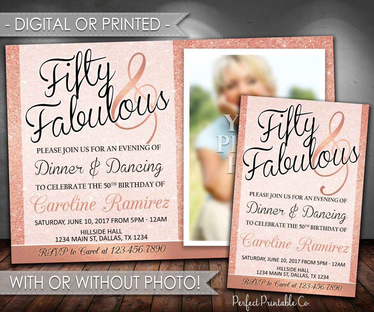 50th Birthday Invitation, Fifty and Fabulous Birthday Invitation, Milestone Invitation, 40th, 60th, Rose Gold, Pink, Digital or Printed #647 by PerfectPrintableCo on Etsy