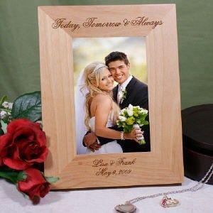Engraved Wood Wedding Photo Frame