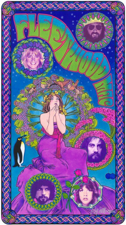 Fleetwood Mac 11x17 Music Poster Psychedelic Poster Music Poster Concert Posters