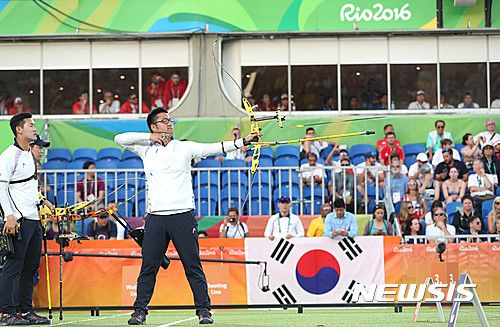 양궁 남자 단체, 대한민국 선수단 첫 금메달