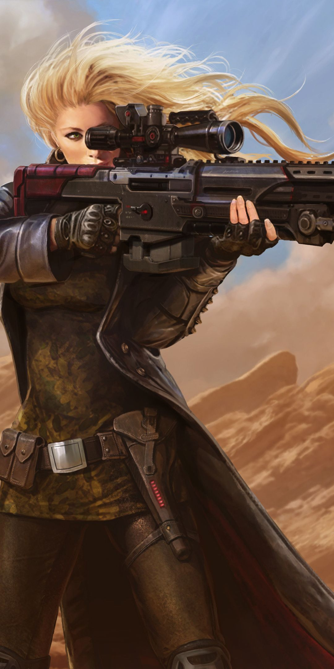 Juggernaut Wars Sniper Girl Artwork 1080x2160 Wallpaper Sniper Girl Digital Art Girl Wallpaper