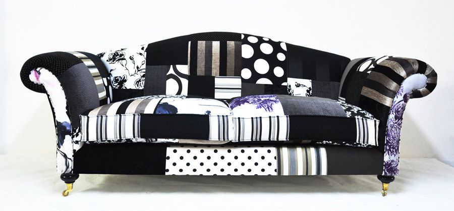 CHRISTMAS SALE black & white patchwork sofa