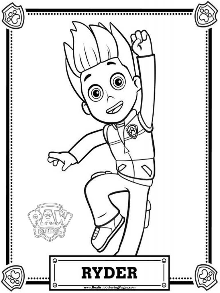 Ryder Paw Patrol Coloring Pages To Print Drawings Pinterest