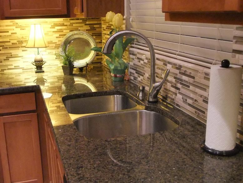 Charming Tropic Brown Granite Backsplash Ideas Part - 3: Updating: Tropical Brown Granite Counters With Travertine And Glass  Backsplash