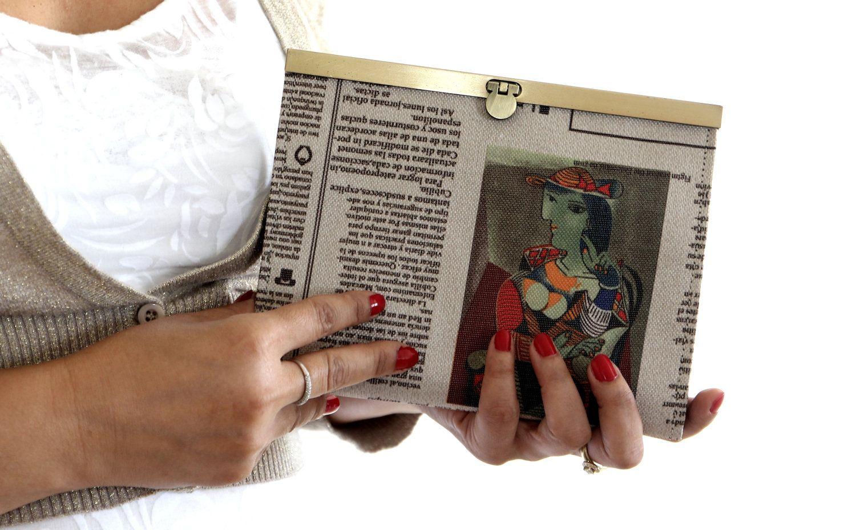 Women wallet, purse,clutch,newspaper print, faux leather. $68.00, via Etsy.