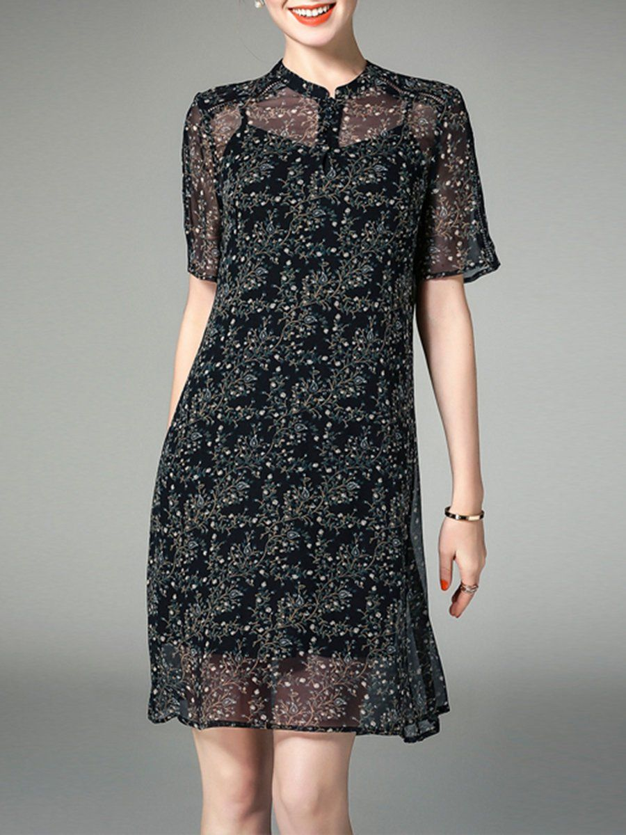 863b99a5086f Floral-print A-line Short Sleeve Floral Casual Midi Dress With Camis