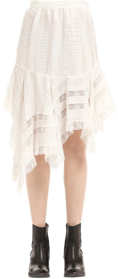 Asymmetrical Viscose Satin & Lace Skirt