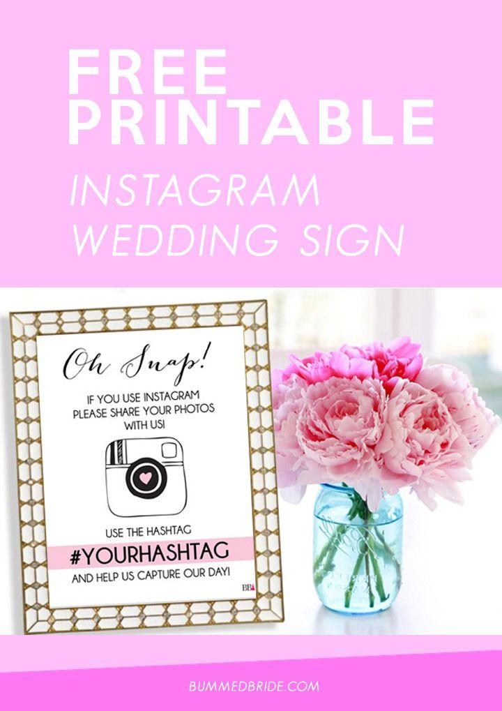 Free Printable Instagram Wedding Sign Med Bride