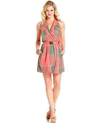 Marilyn Monroe Juniors Dress Sleeveless Belted Plaid Print Macy S