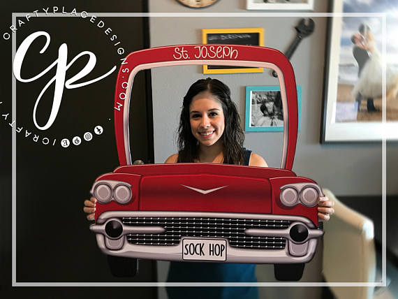 1950's photo booth frame | Grease photo booth prop | Classic car photo booth | Wedding photo booth | Selfie frame | Backdrop | Printed
