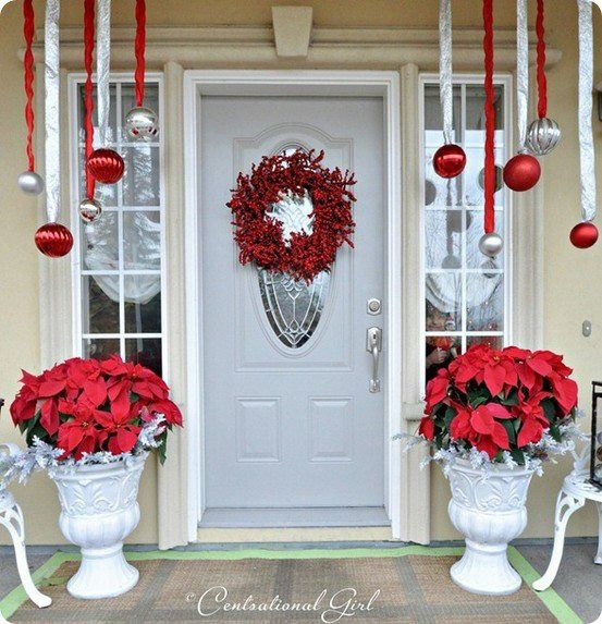 I just like the idea of hanging the ornaments from ribbon. Not too crazy about the red and white.