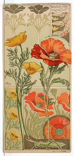 Art Nouveau Inspired California Poppy By Mason Larose: Riom. Amapola De California Y El Campo De La Amapola De
