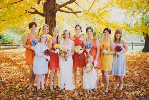 Autumn colored bridesmaid dresses