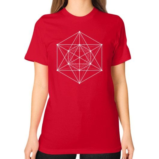 Sacred geometry Minimal Hipster Line Art Unisex T-Shirt (on woman)