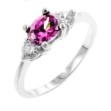Kari's Oval Pink & Clear Cubic Zirconia Ring - Only $22.95 — Fantasy Jewelry Box