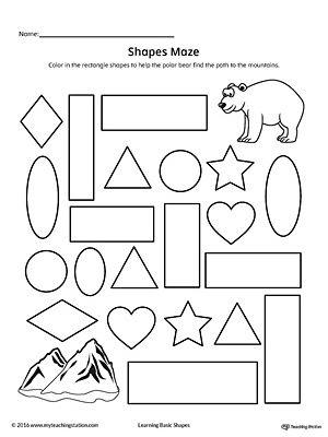 Rectangle Shape Maze Printable Worksheet  Printable Worksheets