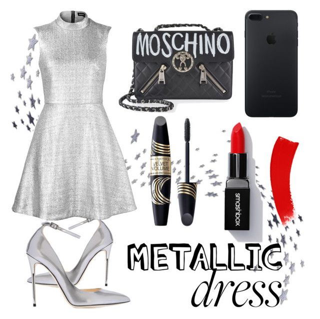 """""""untitled #99"""" by iamjustamayfly ❤ liked on Polyvore featuring Jimmy Choo, Moschino, Max Factor, Markus Lupfer, Silver, dress, metallic, CocktailParty and metallicdress"""