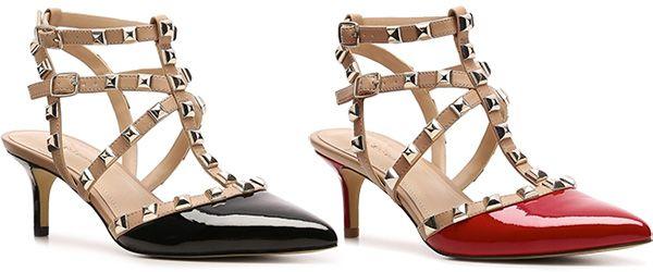 Rouge Sandales À Talons De Bloc Clouté Valentino - Noir 7GOVbPiWJY