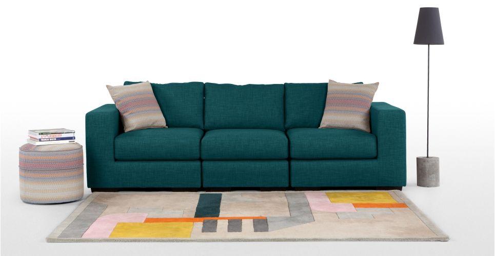 Canapé bleu canard Made.com interieur | Bleu canard | Modular sofa ...