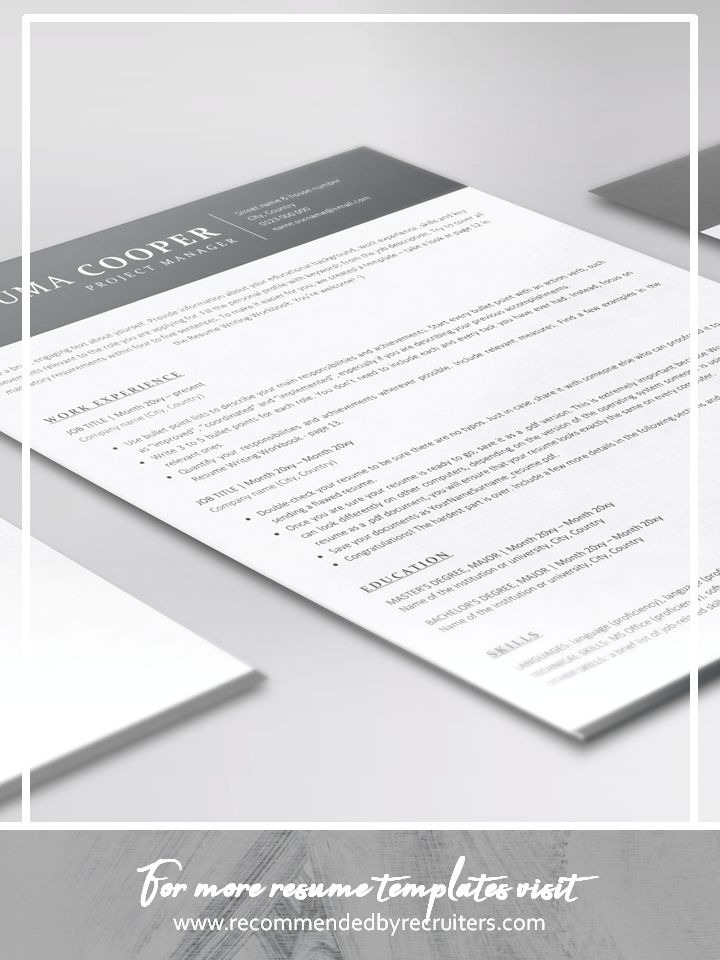 Resume Template and Cover Letter / Instant Download / ATS