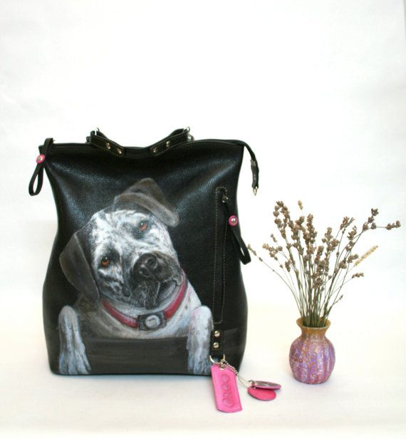 Custom Pet Portrait Personalized Leather backpack purse black ...