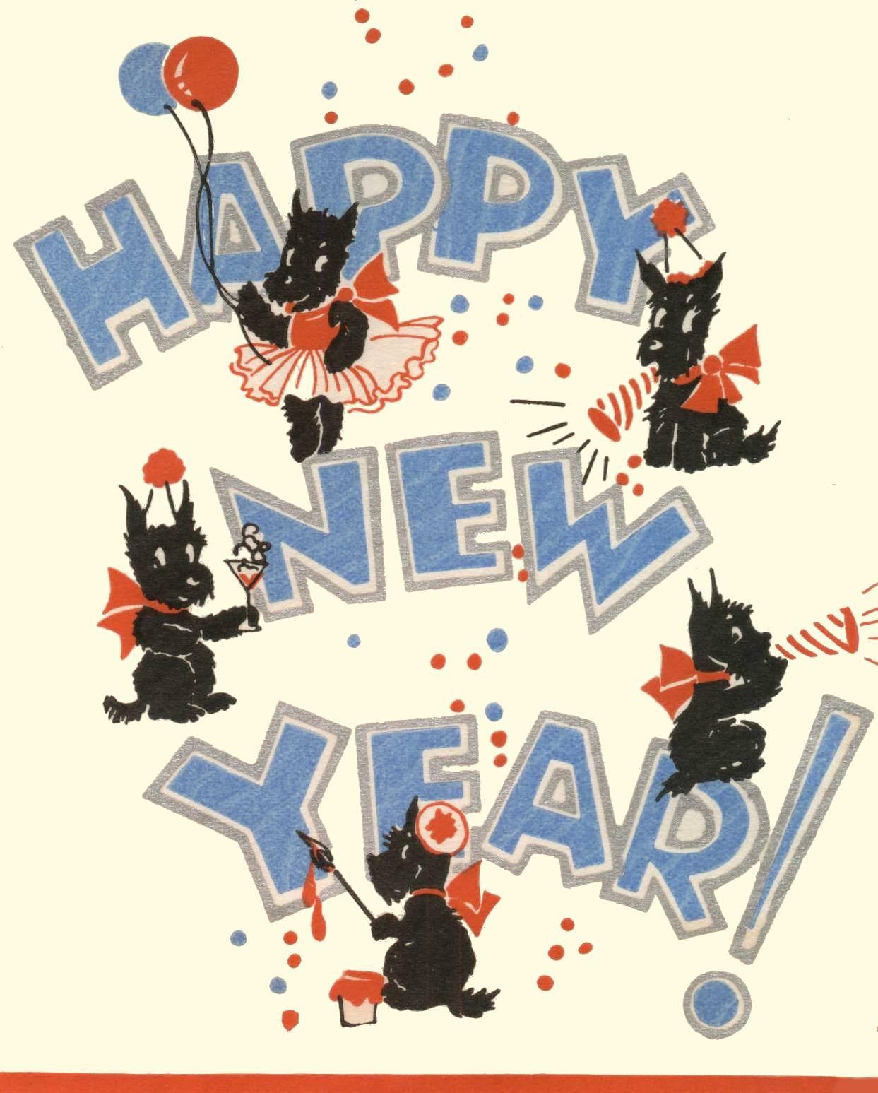 Vintage Scottie Card Vintage happy new year, Happy new