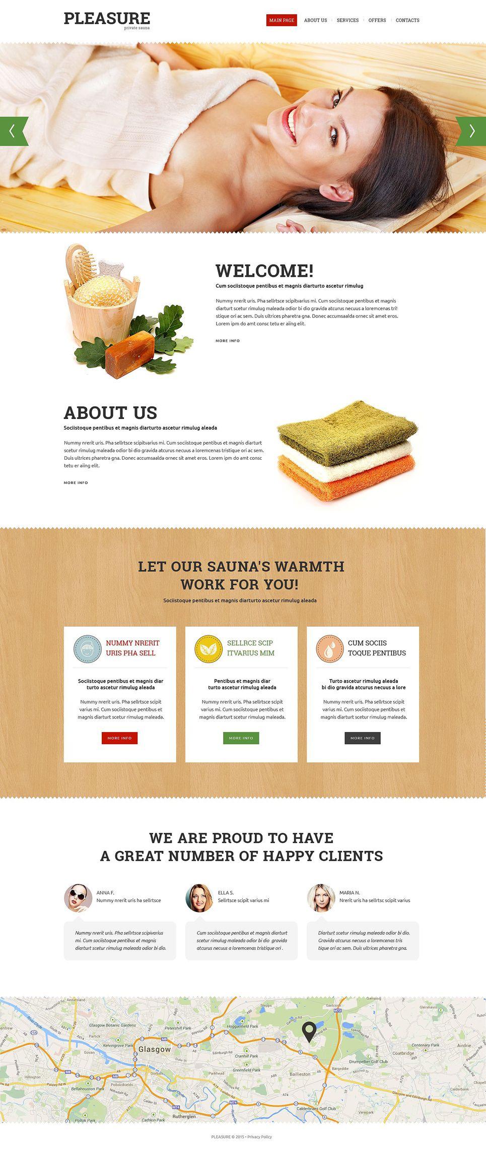 Sauna Responsive Website Template 52897 Responsive Website Template Website Template Personal Website Portfolio